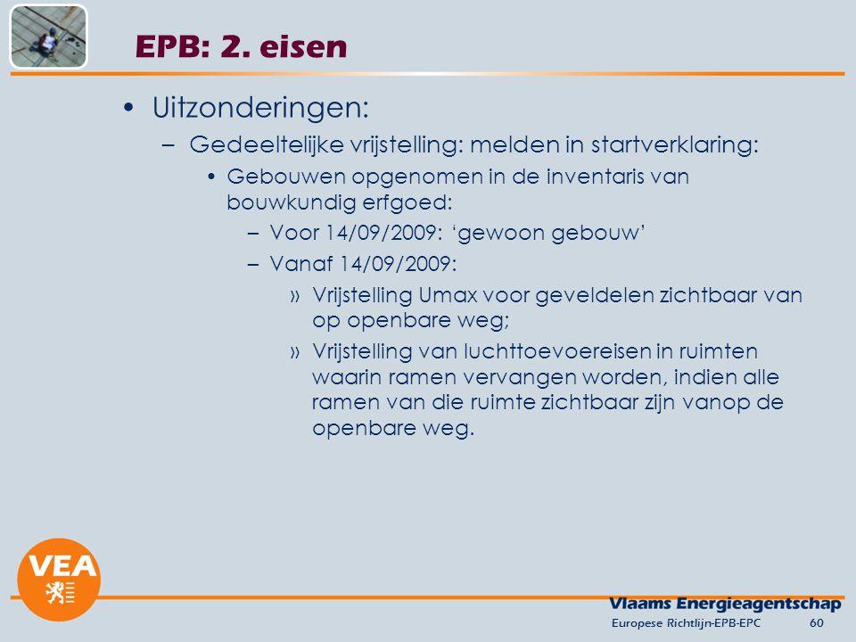 EPB: 2. eisen Uitzonderingen:
