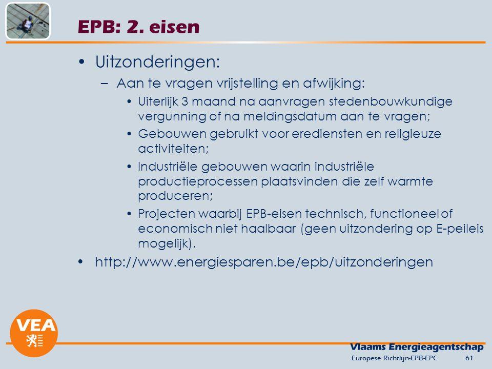 EPB: 2. eisen Uitzonderingen: Aan te vragen vrijstelling en afwijking: