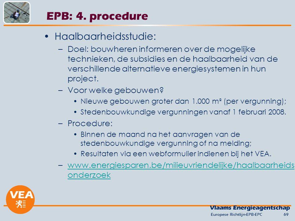 EPB: 4. procedure Haalbaarheidsstudie: