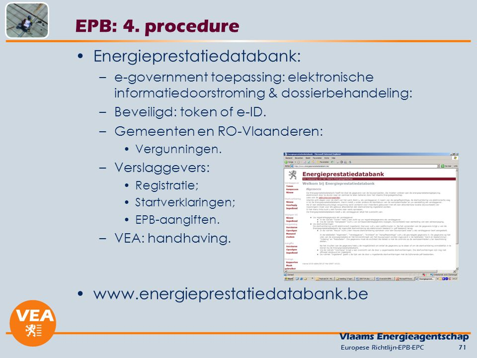 EPB: 4. procedure Energieprestatiedatabank: