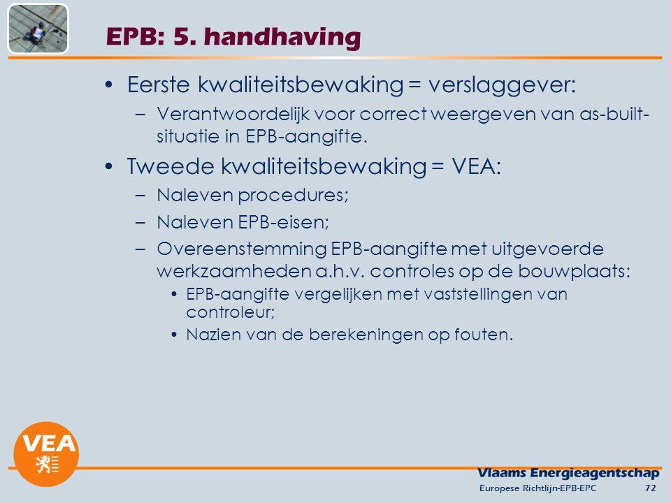 EPB: 5. handhaving Eerste kwaliteitsbewaking = verslaggever: