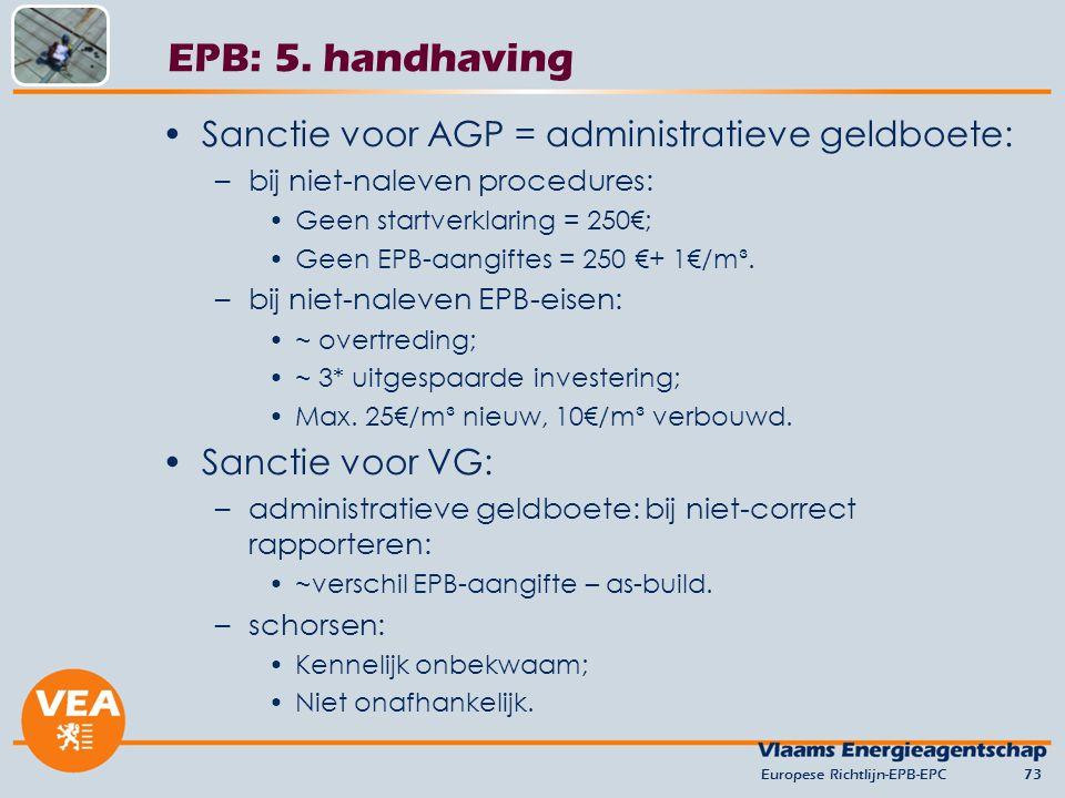 EPB: 5. handhaving Sanctie voor AGP = administratieve geldboete: