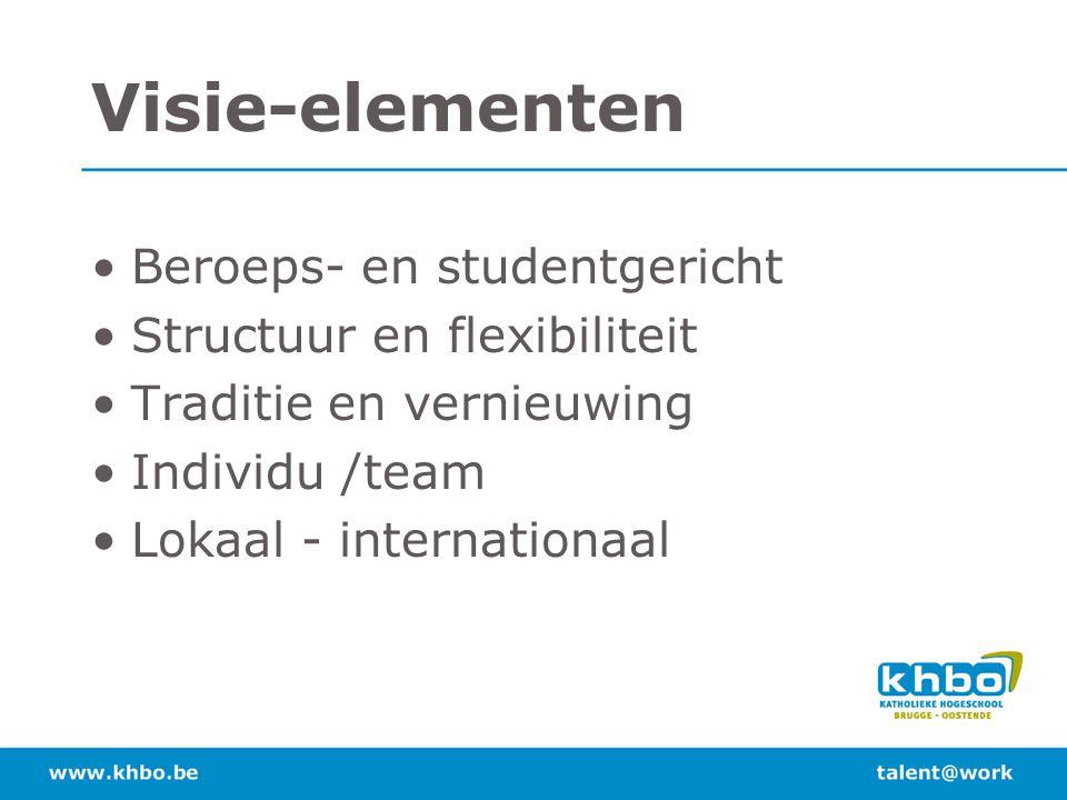 Visie-elementen Beroeps- en studentgericht Structuur en flexibiliteit