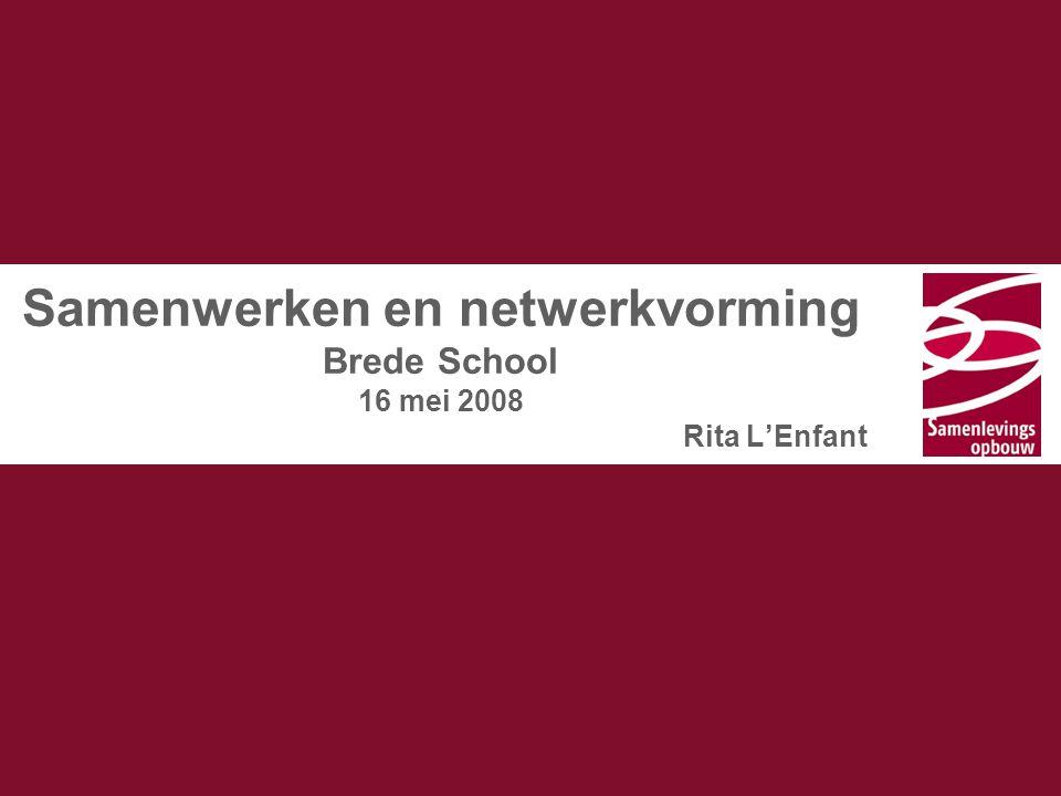Samenwerken en netwerkvorming Brede School 16 mei 2008 Rita L'Enfant