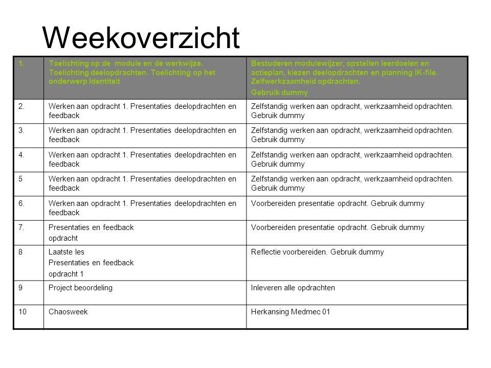Weekoverzicht 1. Toelichting op de module en de werkwijze. Toelichting deelopdrachten. Toelichting op het onderwerp Identiteit.