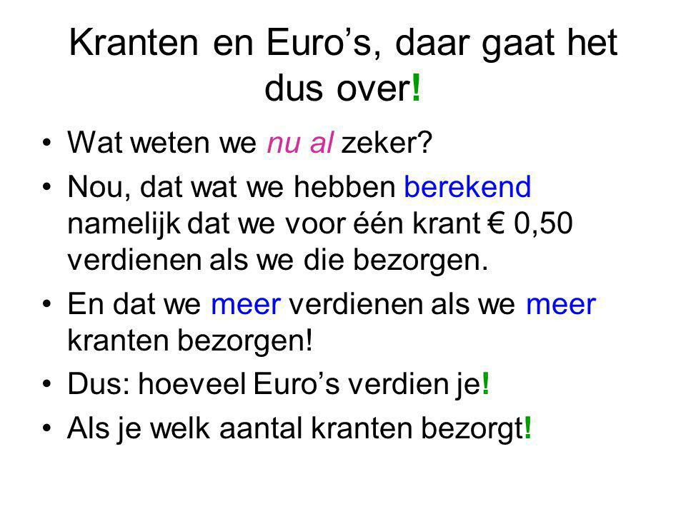 Kranten en Euro's, daar gaat het dus over!