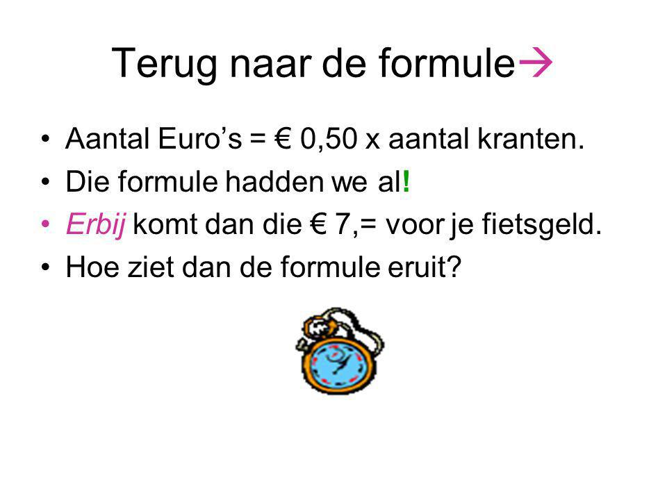 Terug naar de formule Aantal Euro's = € 0,50 x aantal kranten.