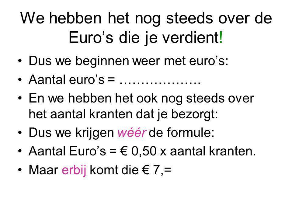We hebben het nog steeds over de Euro's die je verdient!