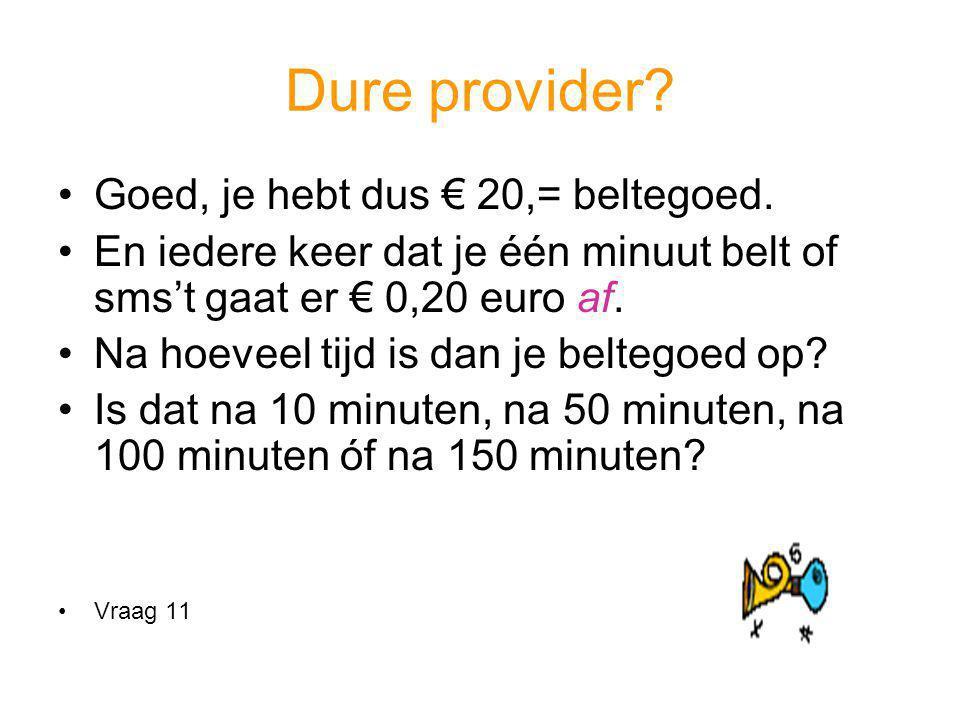 Dure provider Goed, je hebt dus € 20,= beltegoed.