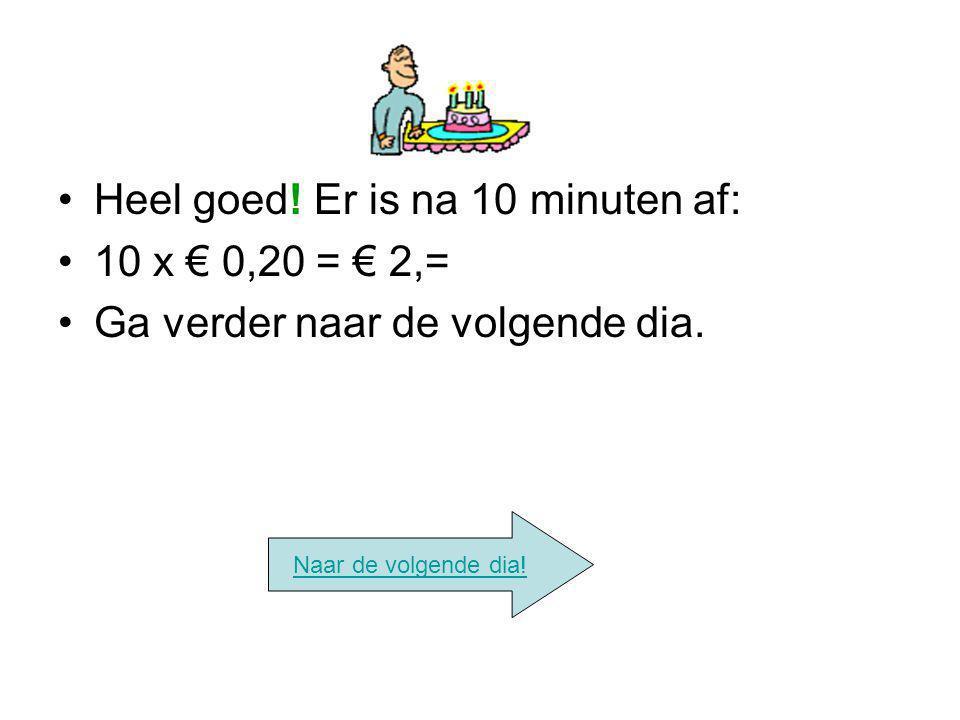 Heel goed! Er is na 10 minuten af: 10 x € 0,20 = € 2,=