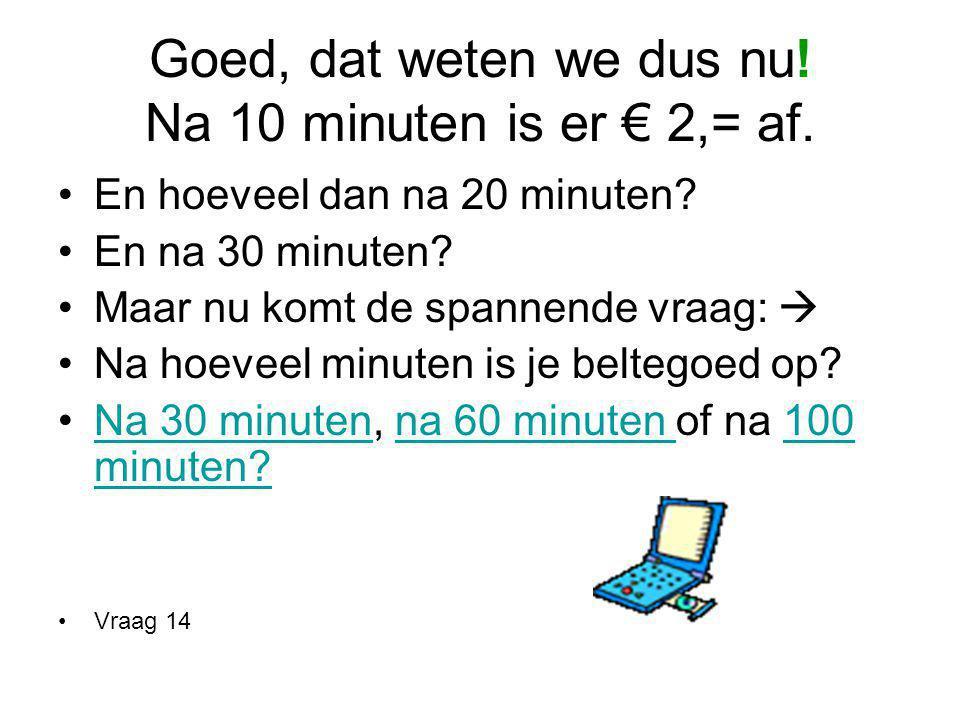 Goed, dat weten we dus nu! Na 10 minuten is er € 2,= af.
