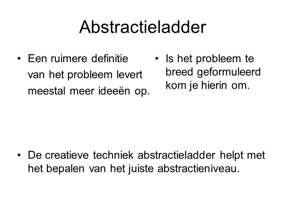 Abstractieladder Een ruimere definitie van het probleem levert