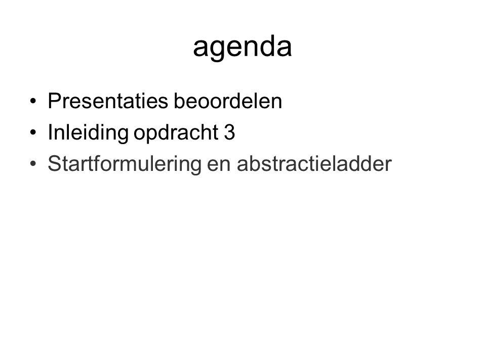 agenda Presentaties beoordelen Inleiding opdracht 3