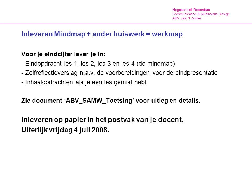CMD - VID (College Jaar 1, Winter)