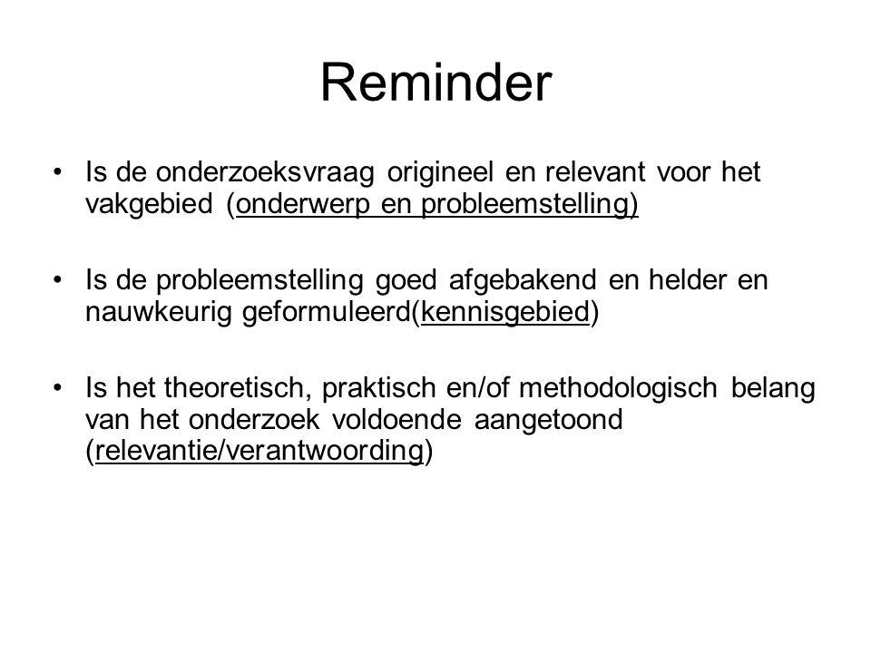 Reminder Is de onderzoeksvraag origineel en relevant voor het vakgebied (onderwerp en probleemstelling)