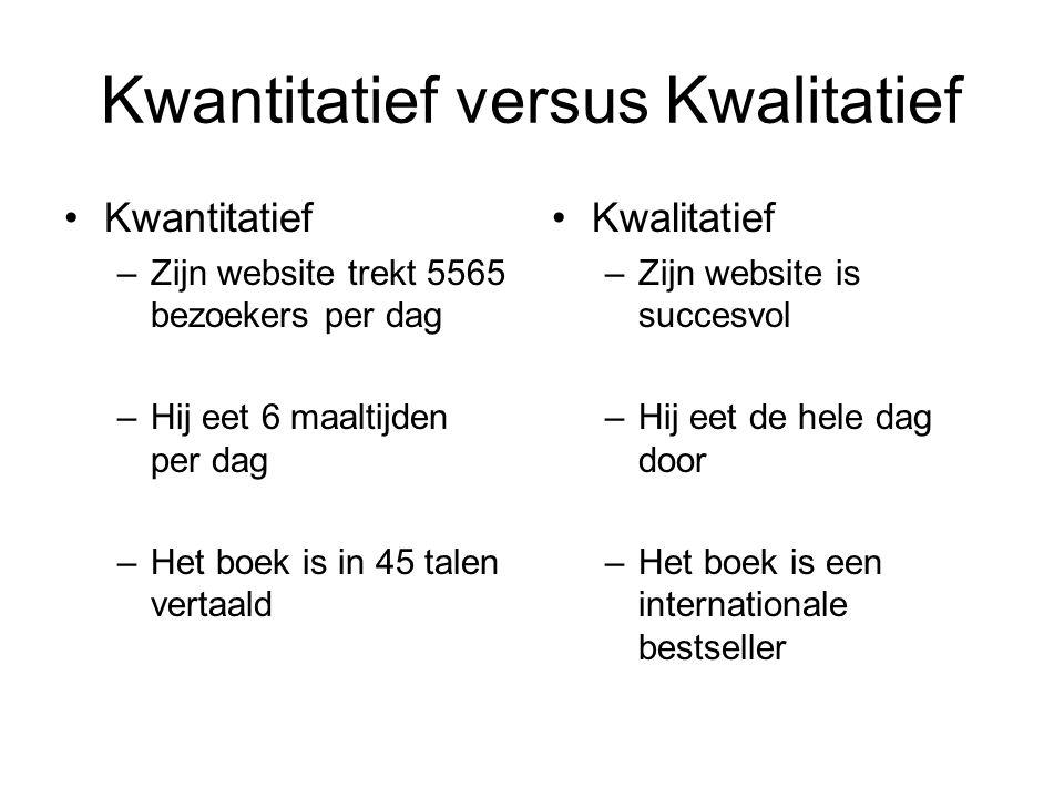Kwantitatief versus Kwalitatief