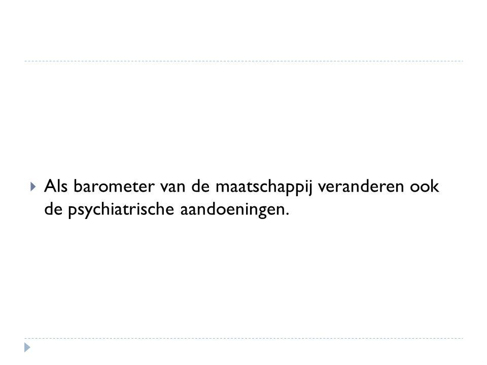 Als barometer van de maatschappij veranderen ook de psychiatrische aandoeningen.