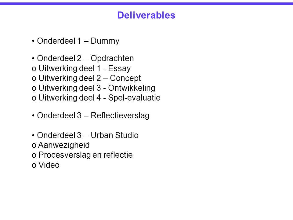 Deliverables • Onderdeel 1 – Dummy • Onderdeel 2 – Opdrachten