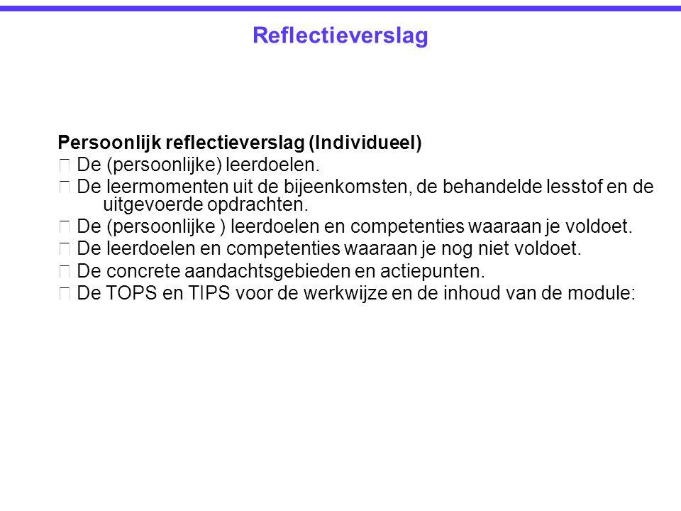 Reflectieverslag Persoonlijk reflectieverslag (Individueel)