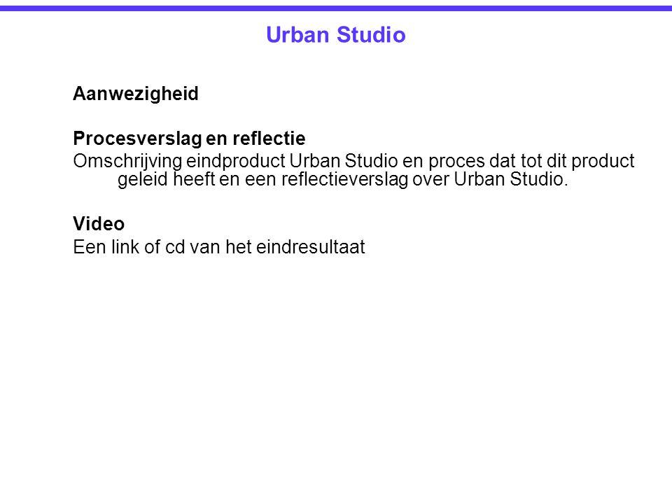 Urban Studio Aanwezigheid Procesverslag en reflectie