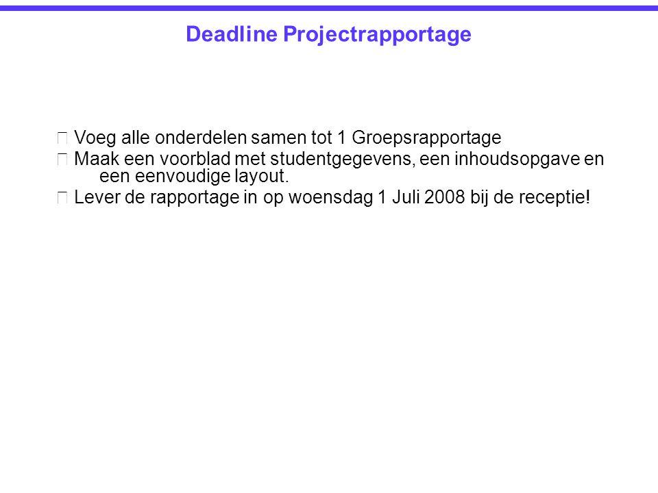Deadline Projectrapportage