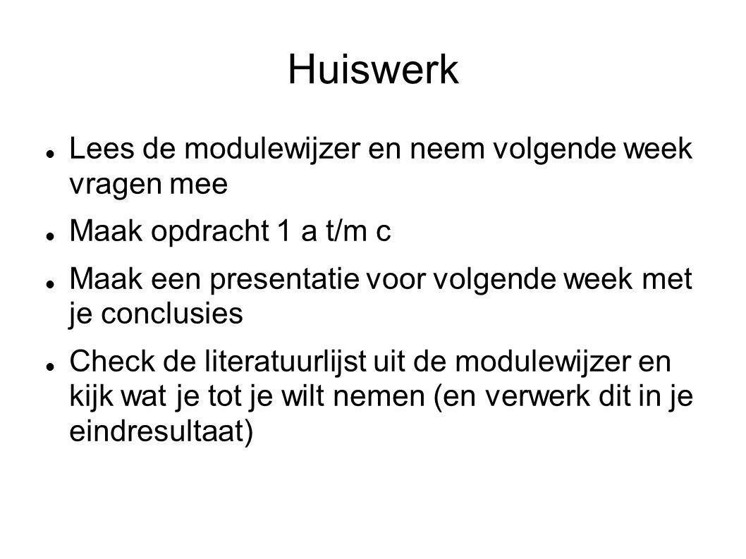 Huiswerk Lees de modulewijzer en neem volgende week vragen mee