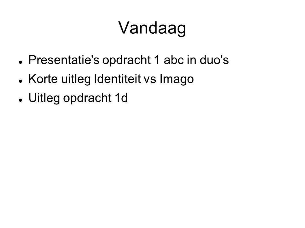 Vandaag Presentatie s opdracht 1 abc in duo s