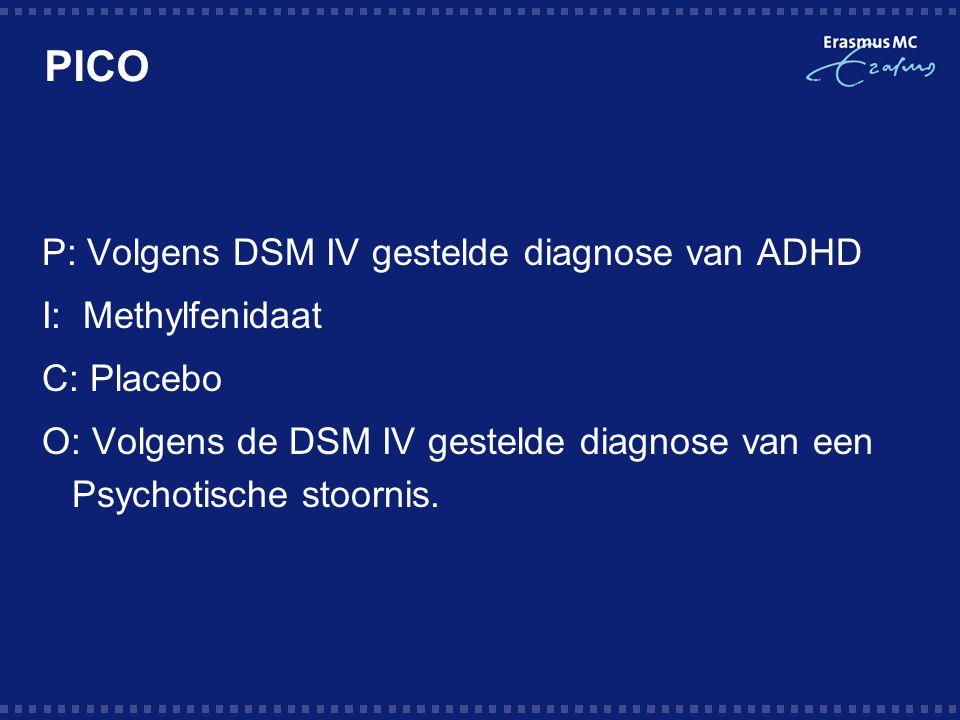 PICO P: Volgens DSM IV gestelde diagnose van ADHD I: Methylfenidaat