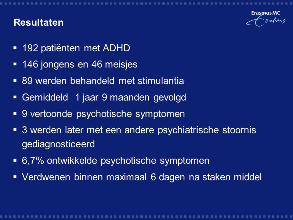 Resultaten 192 patiënten met ADHD. 146 jongens en 46 meisjes. 89 werden behandeld met stimulantia.