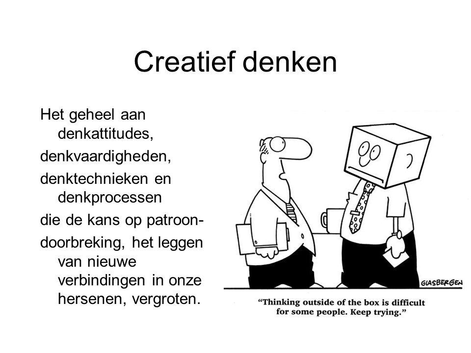 Creatief denken Het geheel aan denkattitudes, denkvaardigheden,