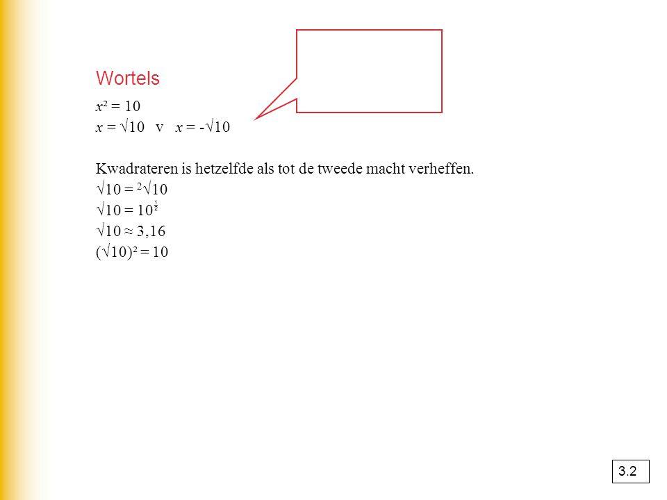 Wortels x² = 10. x = √10 v x = -√10. Kwadrateren is hetzelfde als tot de tweede macht verheffen.