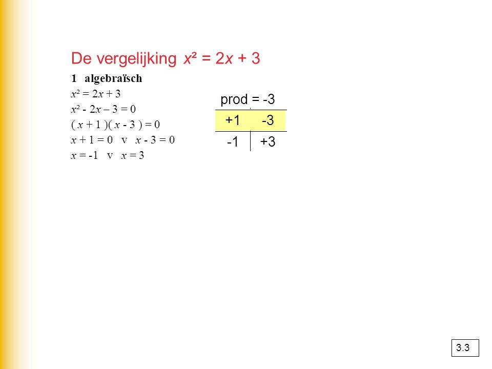 De vergelijking x² = 2x + 3 prod = -3 +1 +1 -3 -3 -1 +3 1 algebraïsch