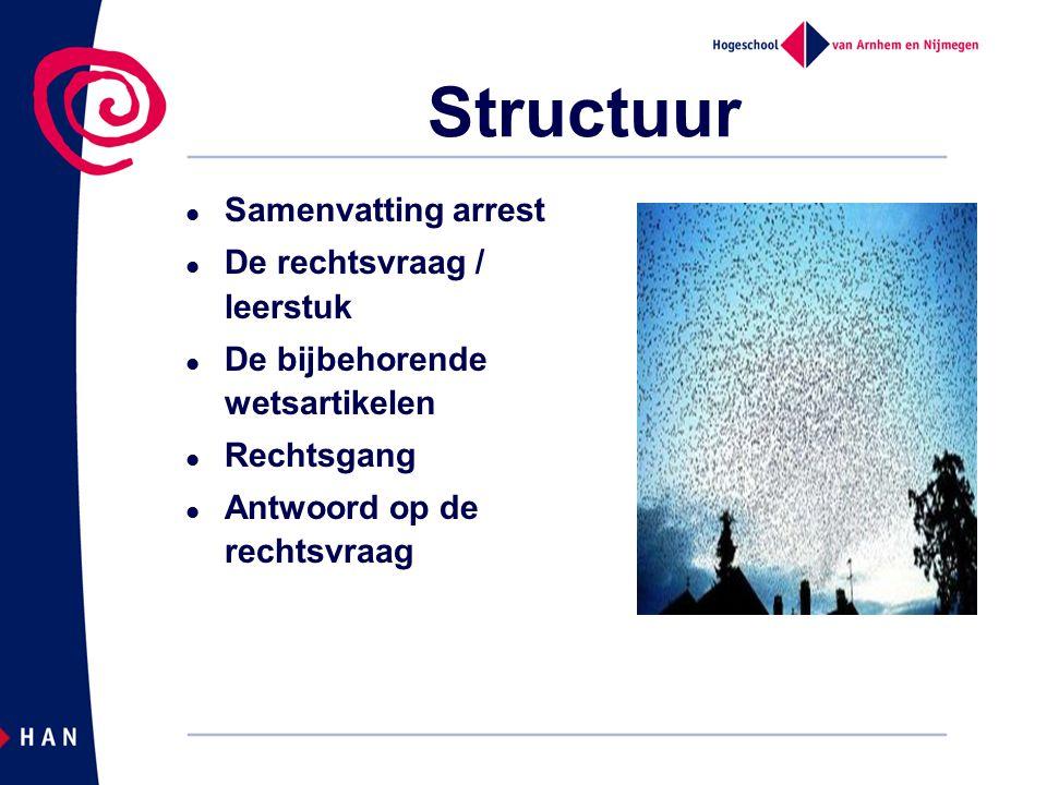 Structuur Samenvatting arrest De rechtsvraag / leerstuk