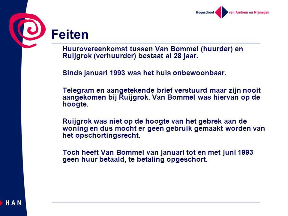 Feiten Huurovereenkomst tussen Van Bommel (huurder) en Ruijgrok (verhuurder) bestaat al 28 jaar. Sinds januari 1993 was het huis onbewoonbaar.