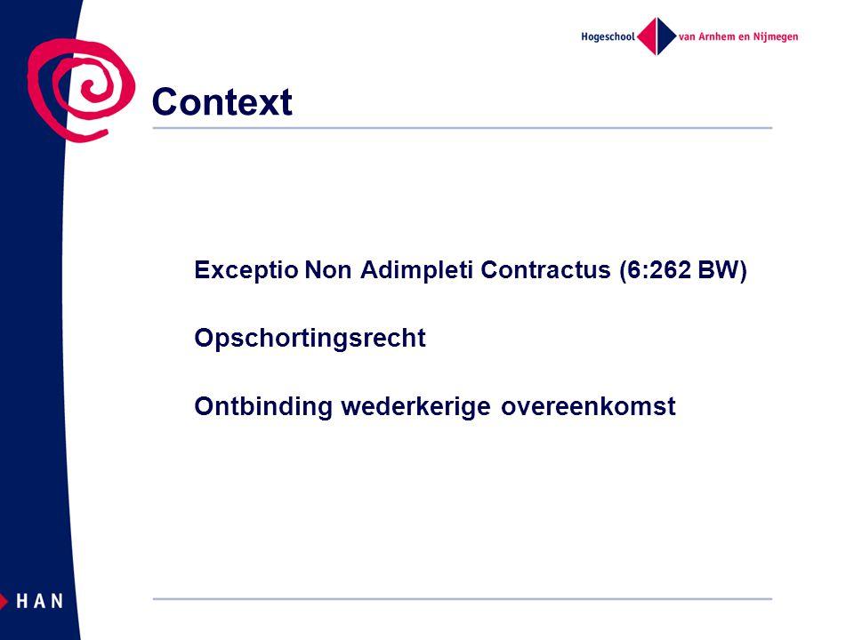 Context Opschortingsrecht Ontbinding wederkerige overeenkomst