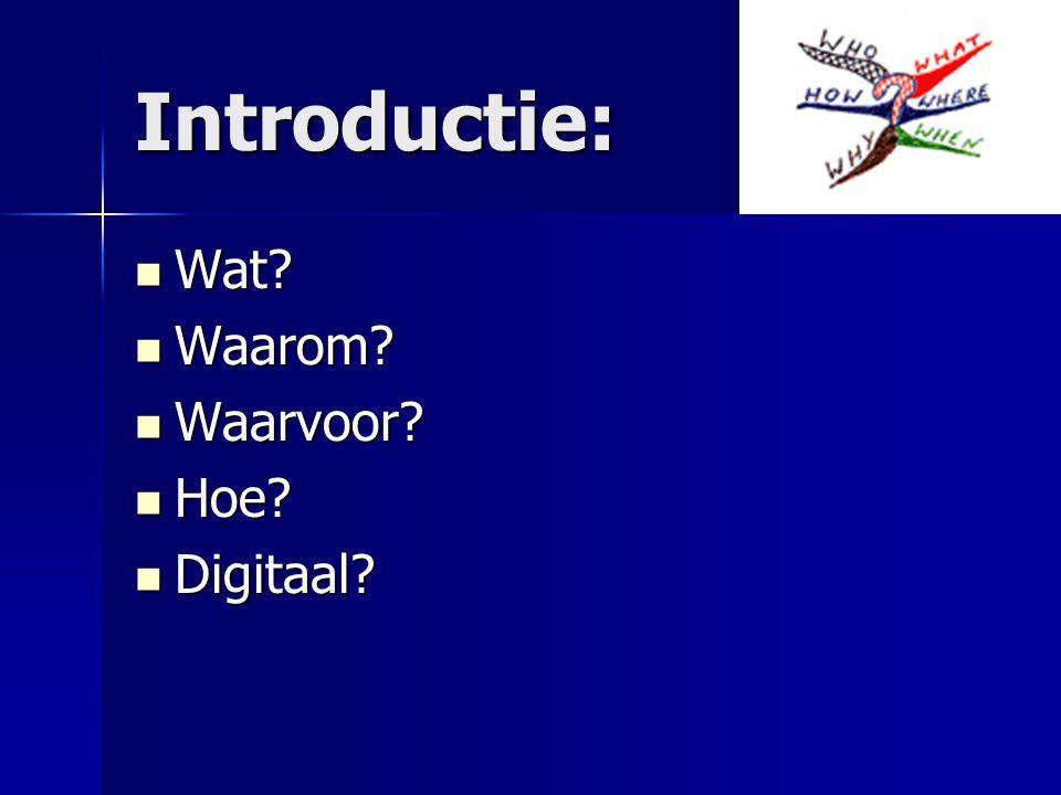 Introductie: Wat Waarom Waarvoor Hoe Digitaal