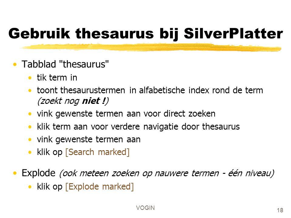 Gebruik thesaurus bij SilverPlatter