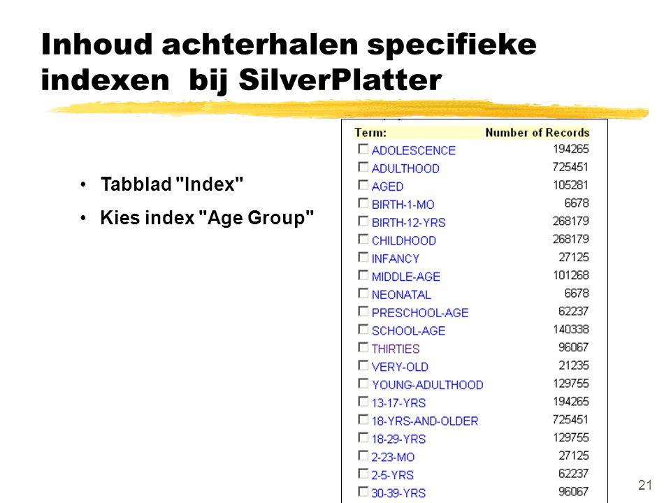 Inhoud achterhalen specifieke indexen bij SilverPlatter