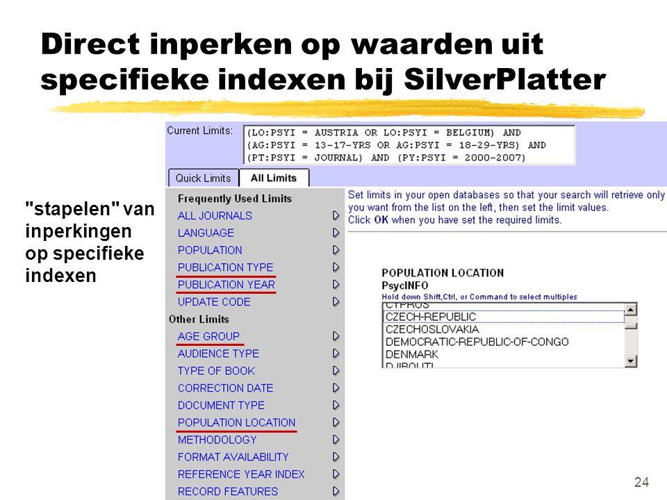 Direct inperken op waarden uit specifieke indexen bij SilverPlatter