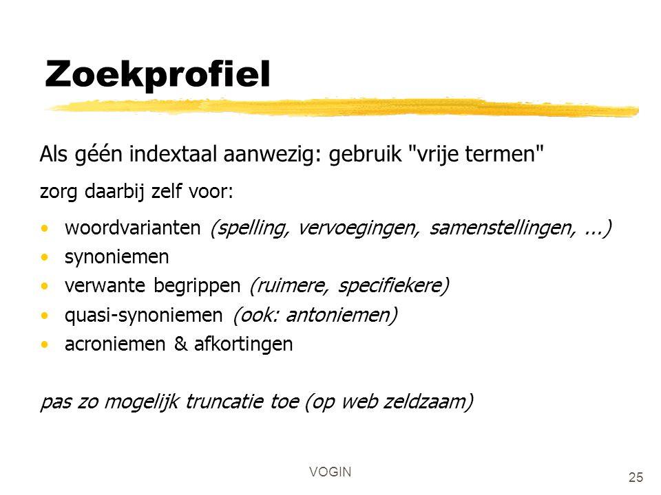 Zoekprofiel Als géén indextaal aanwezig: gebruik vrije termen