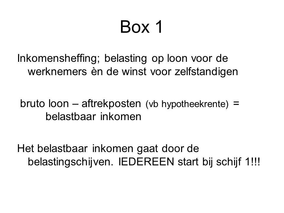Box 1 Inkomensheffing; belasting op loon voor de werknemers èn de winst voor zelfstandigen.