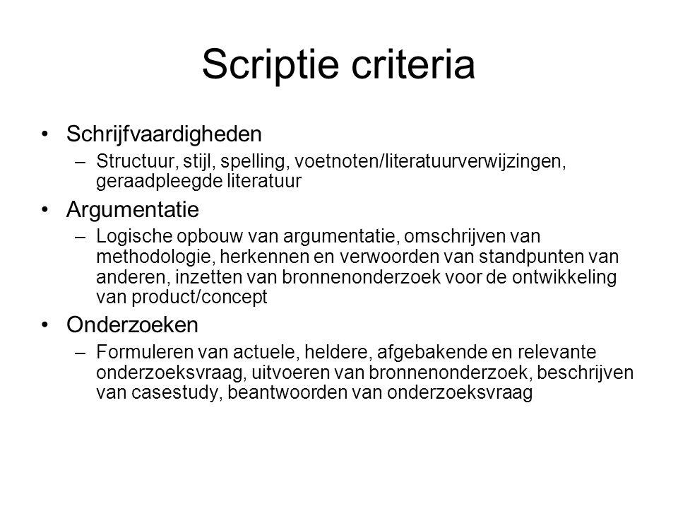 Scriptie criteria Schrijfvaardigheden Argumentatie Onderzoeken