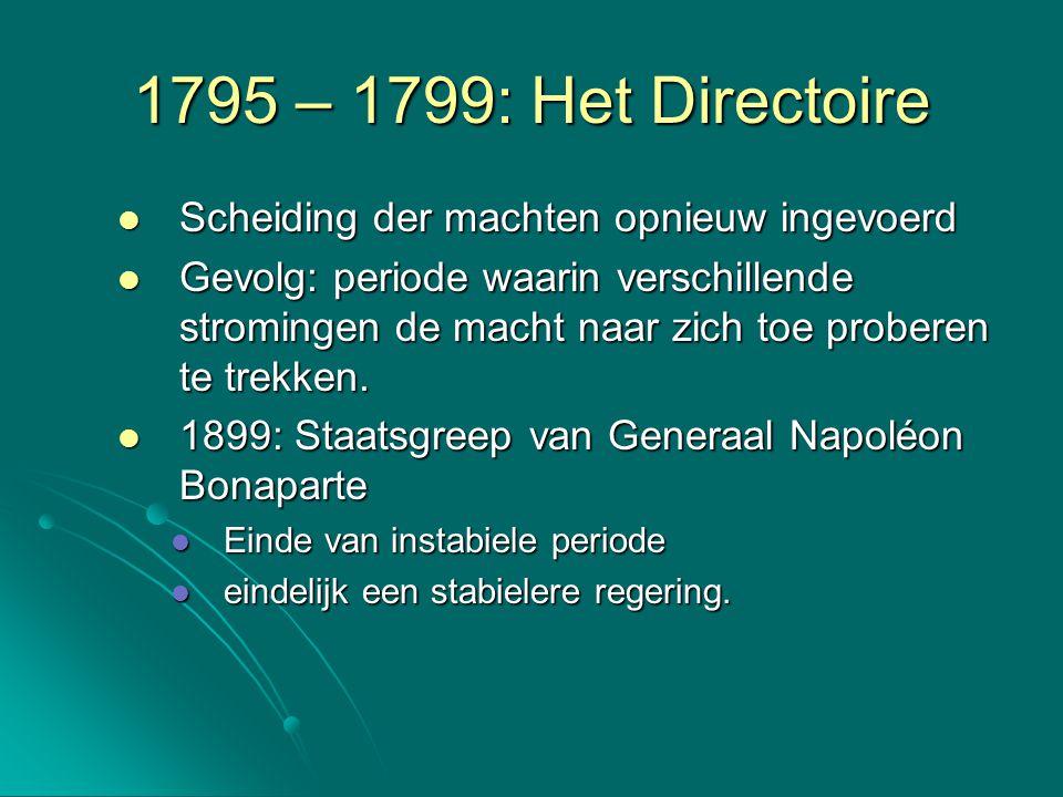 1795 – 1799: Het Directoire Scheiding der machten opnieuw ingevoerd