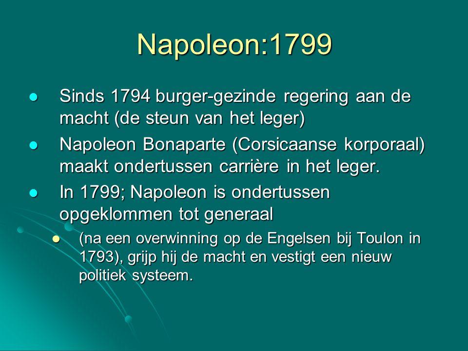 Napoleon:1799 Sinds 1794 burger-gezinde regering aan de macht (de steun van het leger)