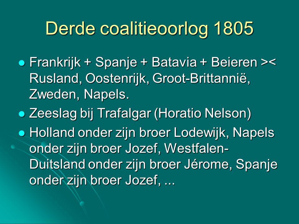 Derde coalitieoorlog 1805 Frankrijk + Spanje + Batavia + Beieren >< Rusland, Oostenrijk, Groot-Brittannië, Zweden, Napels.
