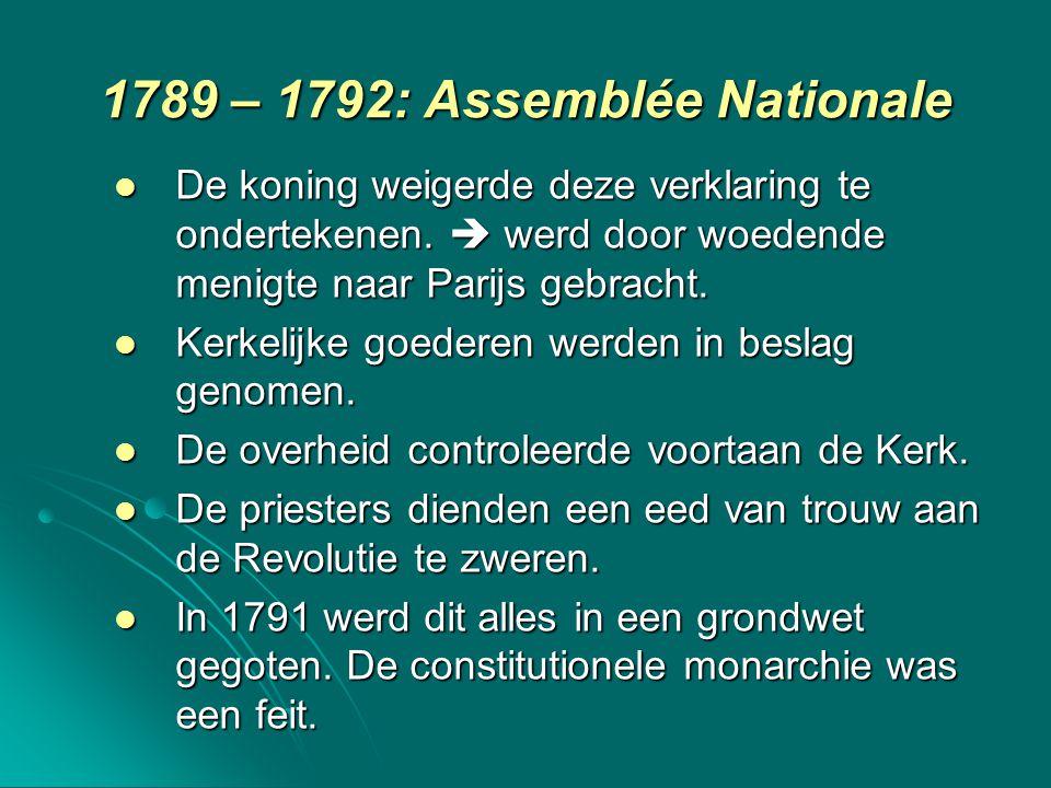 1789 – 1792: Assemblée Nationale