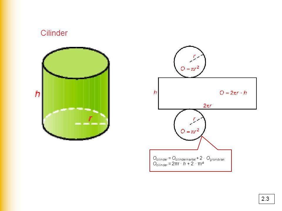 Cilinder 2.3 Ocilinder = Ocilindermantel + 2 · Ogrondvlak