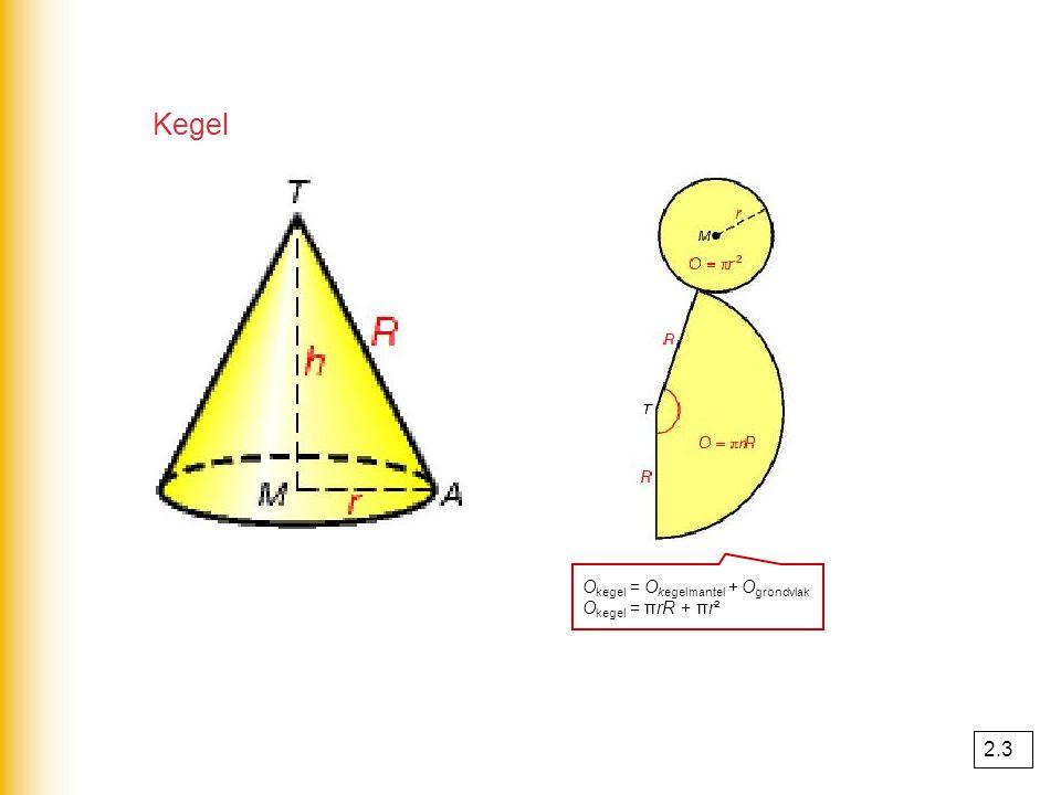Kegel Okegel = Okegelmantel + Ogrondvlak Okegel = πrR + πr² 2.3