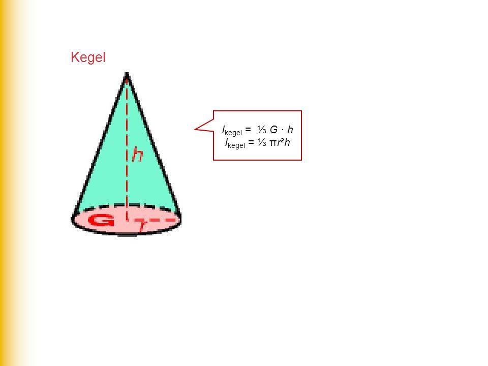 Kegel Ikegel = ⅓ G · h Ikegel = ⅓ πr²h