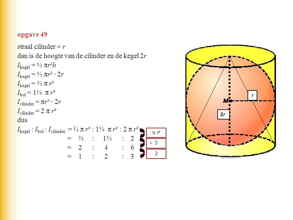 dan is de hoogte van de cilinder en de kegel 2r Ikegel = ⅓ πr²h